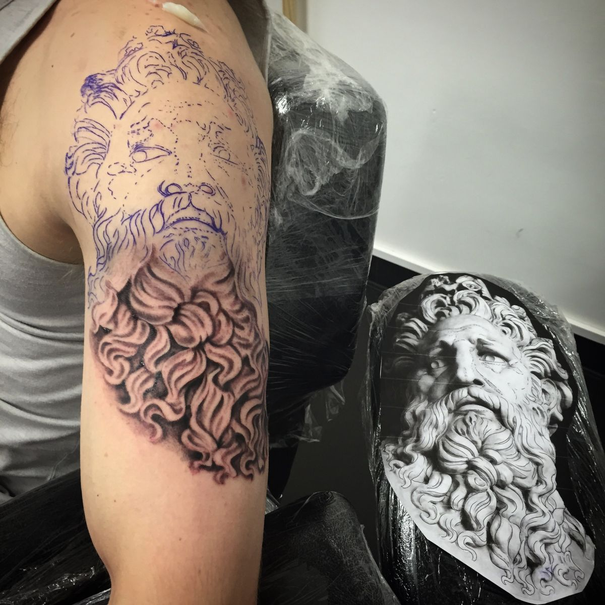 Zeus tattoo in progress