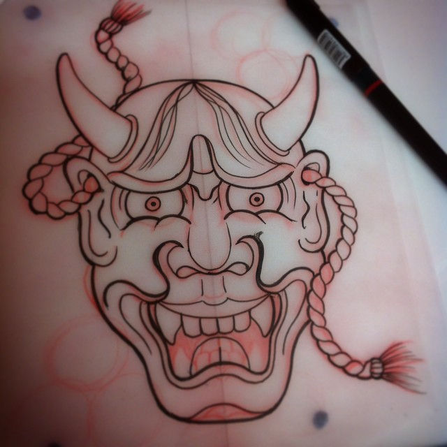 Here is a quick hannya sketch done by Terry Frank, for custom japanese work please contact him at the studio