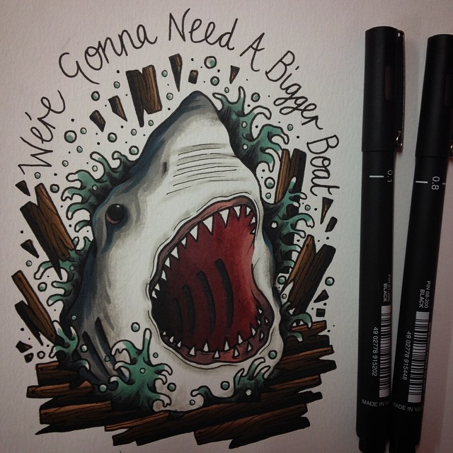 Jaws tattoo flash by Joe Harper
