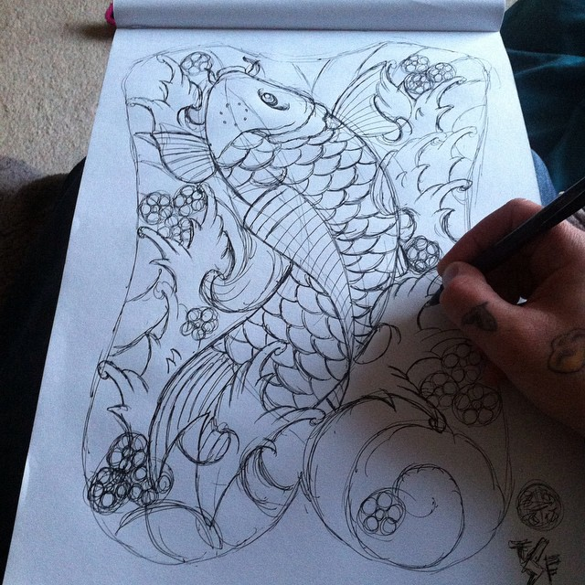 Biro sketch done today by Terry Frank for large custom japanese work please feel free to come in and chat with him.